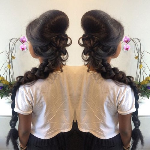 long messy braid with a bouffant
