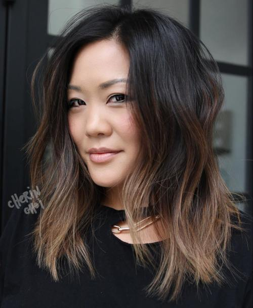 Choppy Brown Balayage Lob