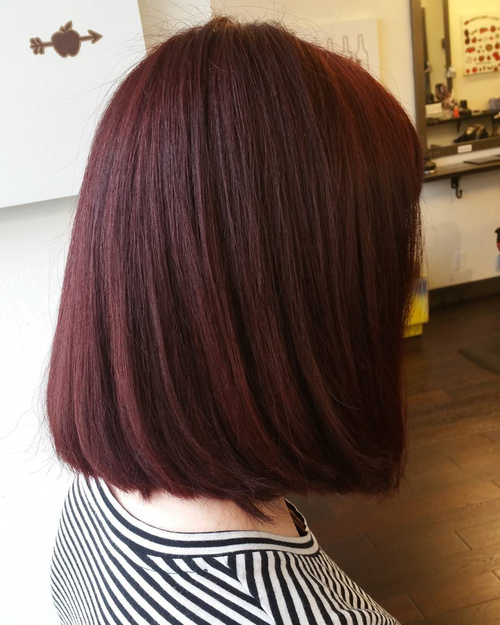 long blunt burgundy bob