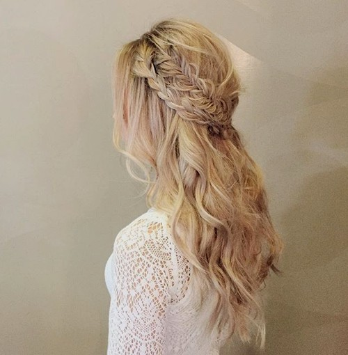 long wavy half updo with two braids