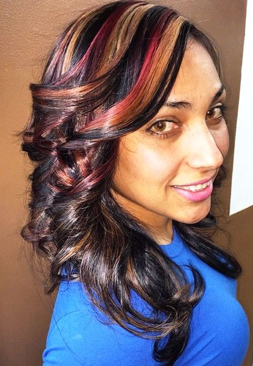 dark brown hair with burgundy and caramel highlights
