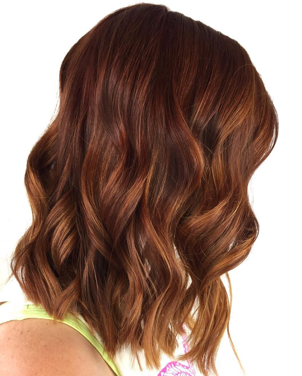 Brown Auburn hair color with highlights