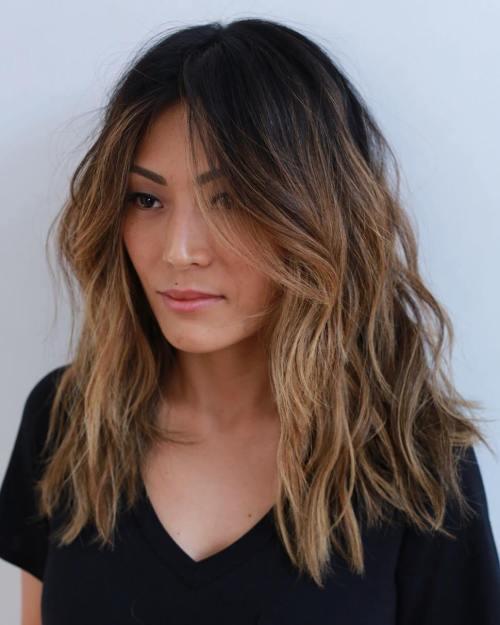 mid-length layered chestnut brown hair