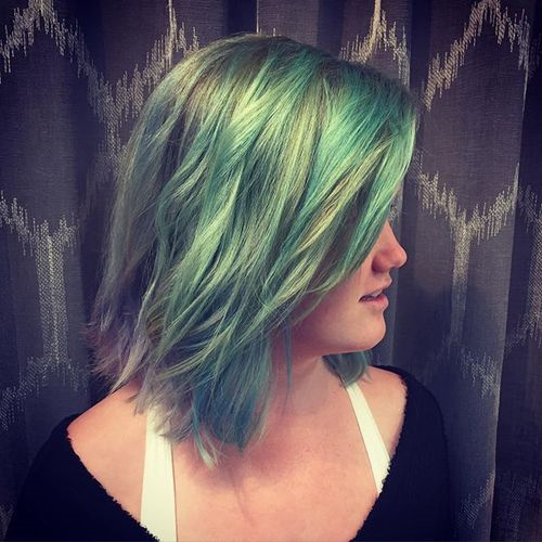 pastel green medium hairstyle