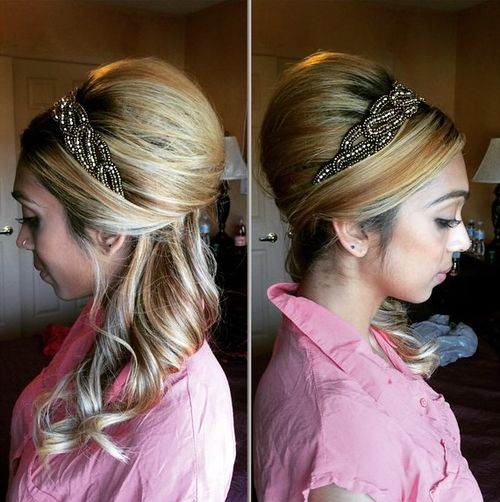 half beehive updo for long hair