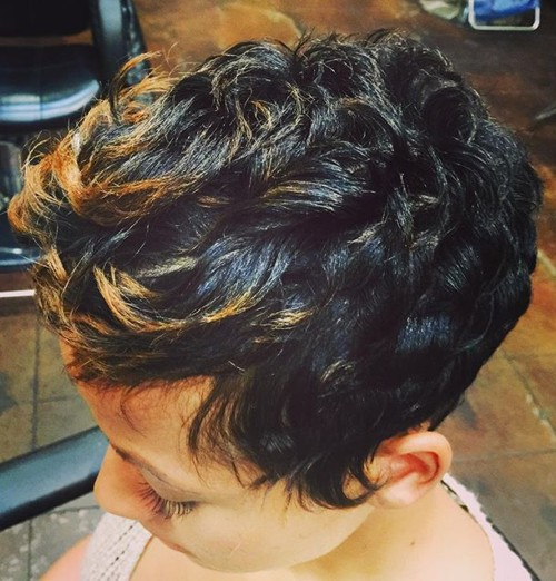 brunette pixie with balayage for curly hair