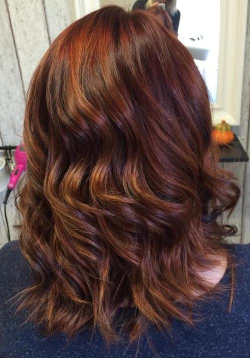 Medium Auburn Hair Color With Highlights