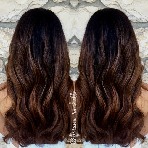 black to chocolate ombre with blonde babylights