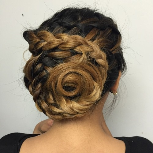 messy braided seashell bun for ombre hair