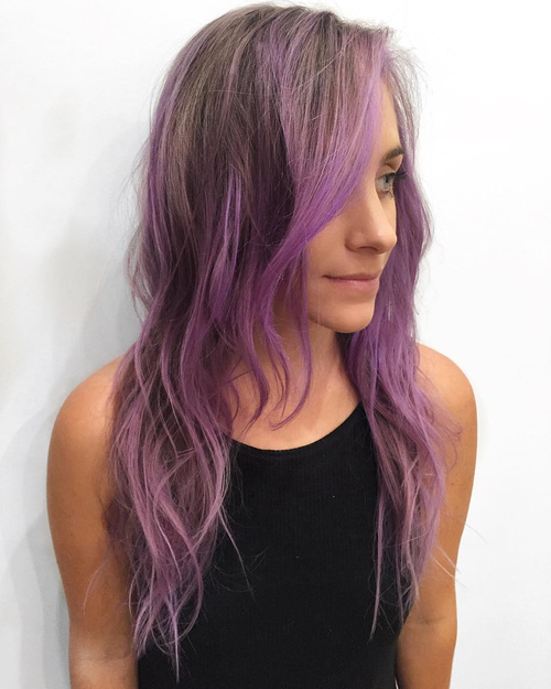pastel purple balayage for light brown hair