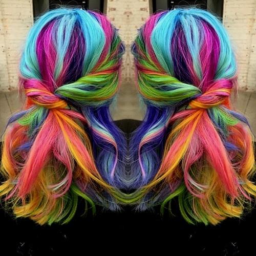 medium length rainbow hair