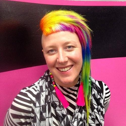 funky asymmetrical rainbow hairstyle