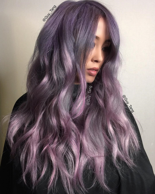 pastel ash purple hair color