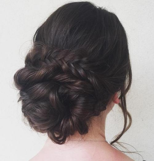 Low Braided Bun Updo
