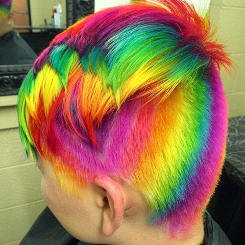 short undercut hairstyle and rainbow hair