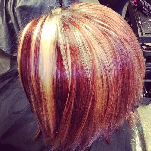 20 best hair color ideas in the world of chunky highlights burgundy bob with red and blonde highlights urmus