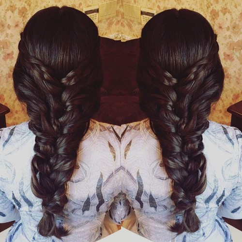chunky braid formal hairstyle for long thick hair