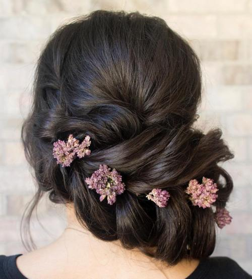 Low Asymmetrical Updo For Long Hair