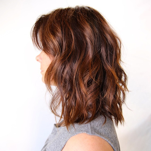 shoulder length wavy auburn balayage bob