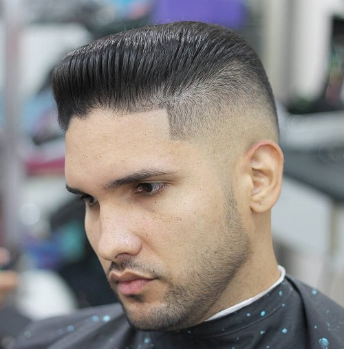short sleeked back men's hairstyle