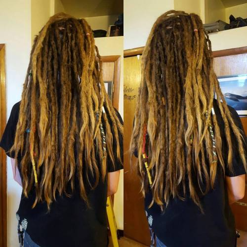 thin dark brown and light brown dreadlock