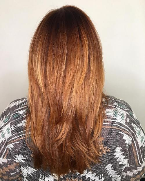 straight red hair with ombre highlights