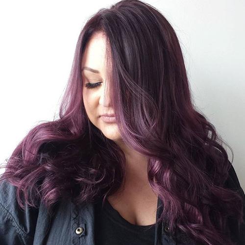 long black hair with ash purple highlights