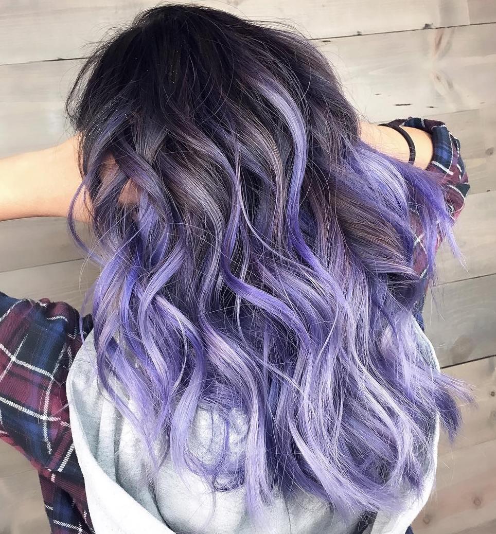 Long Brown Hair With Purple Highlights Www Pixshark Com