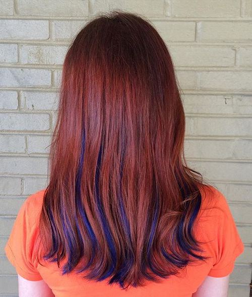 rosewood hair with blue highlights