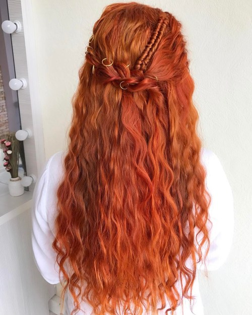 Long Hair Half Updo With A Braid