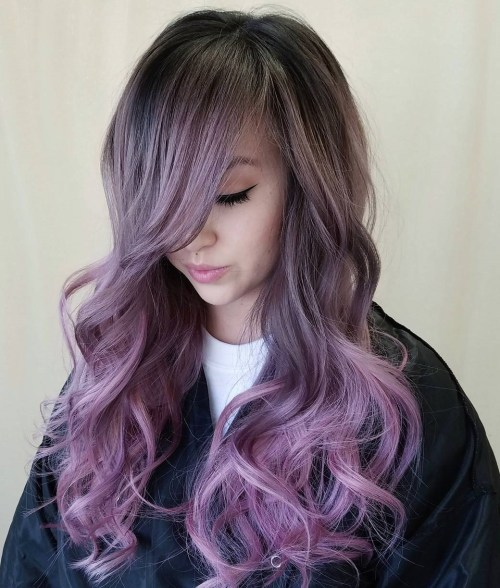 ash blonde hair color with pastel purple balayage