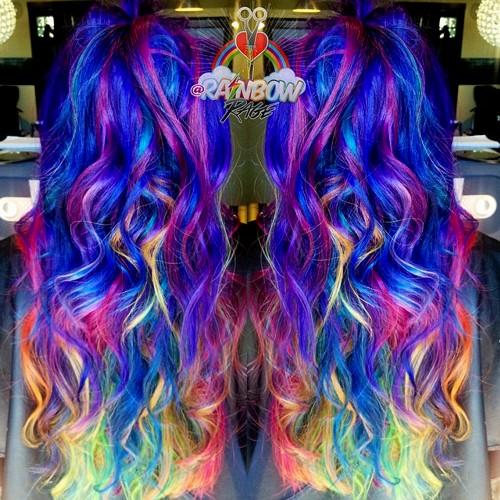 long curly rainbow hair