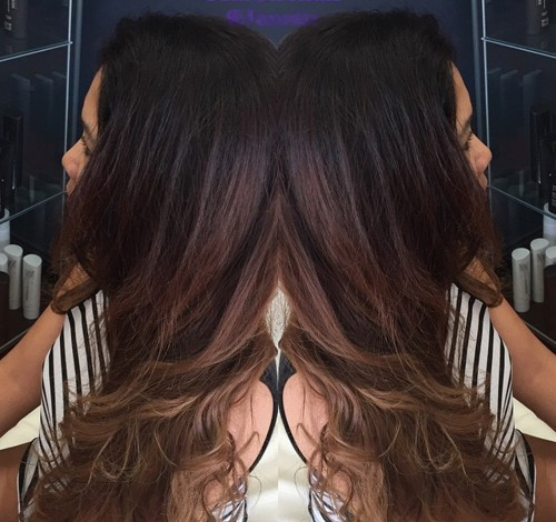 long dark brown to light brown ombre hair