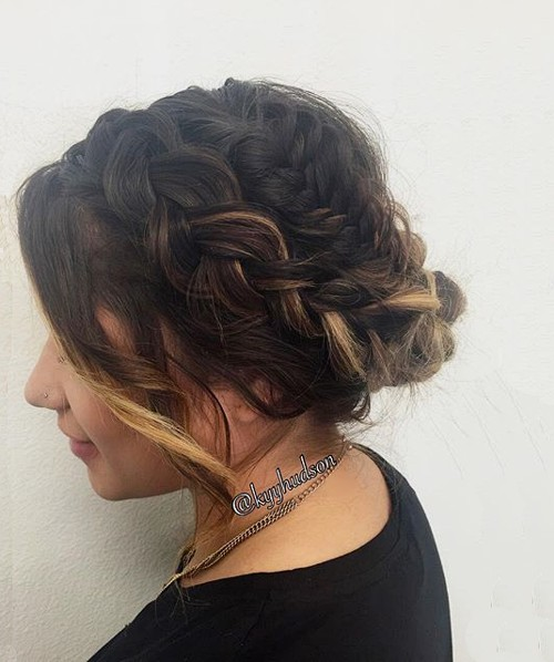 loose updo with two braids