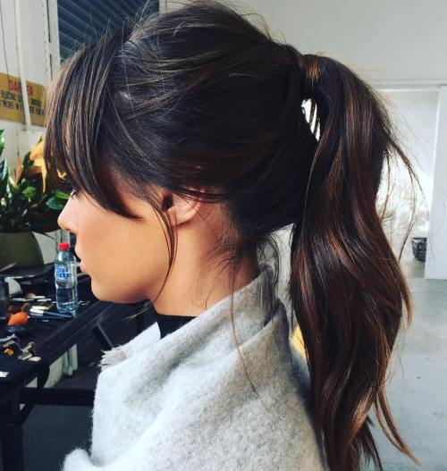 High Brunette Messy Ponytail