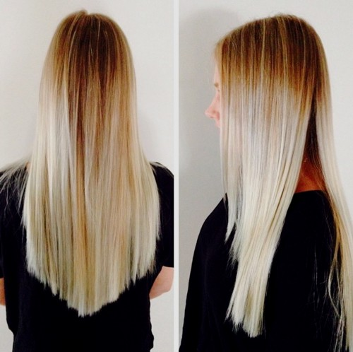 long blonde ombre hair with V cut