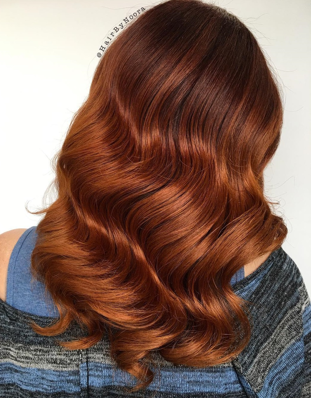 Long Copper Red Balayage Hair