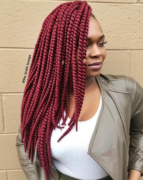 Layered Side Swept Burgundy Twists