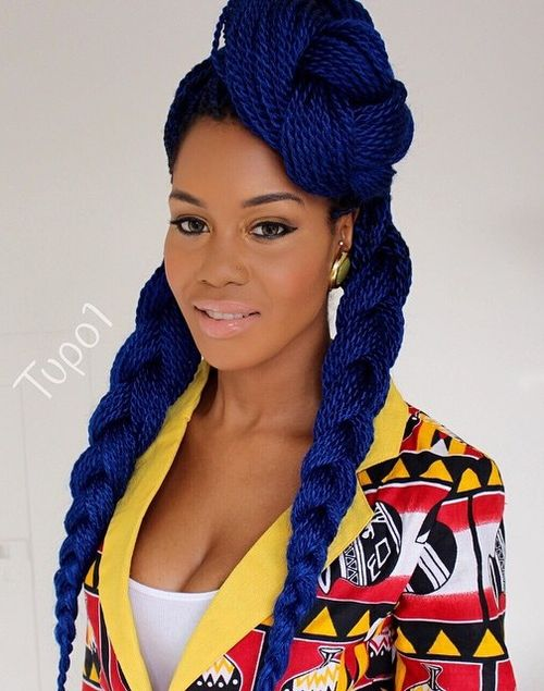 thin blue Senegalese twists with Kanekalon hair