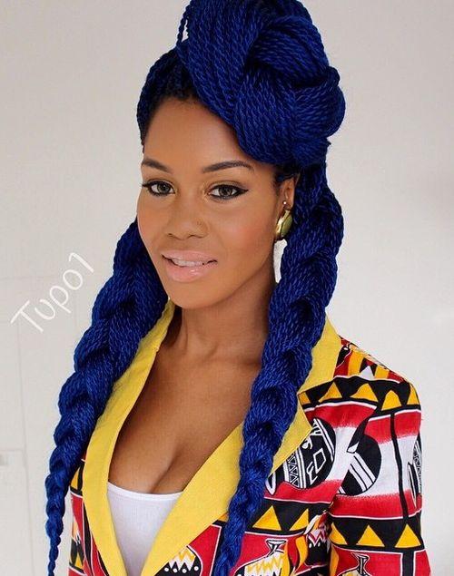 thin blue Senegalese twists with Kanekalon hair