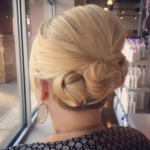 three buns updo for short hair