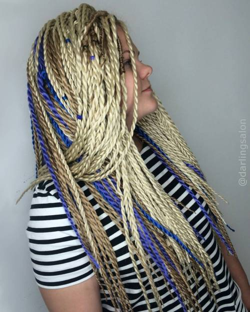 Blonde Twists With Blue Highlights