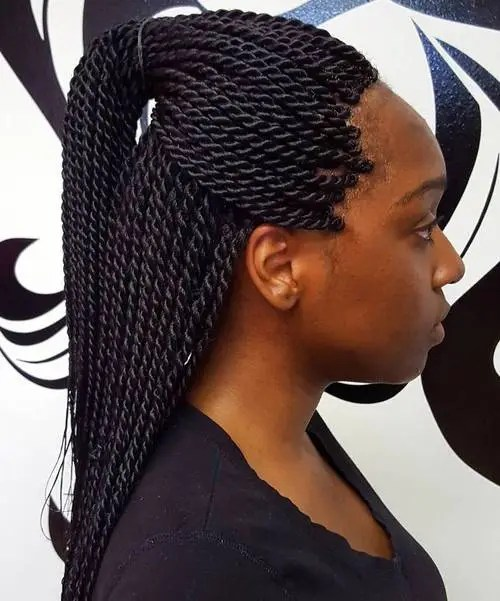 half up ponytail for Senegalese twists