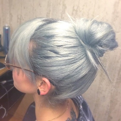High Bun With Bangs
