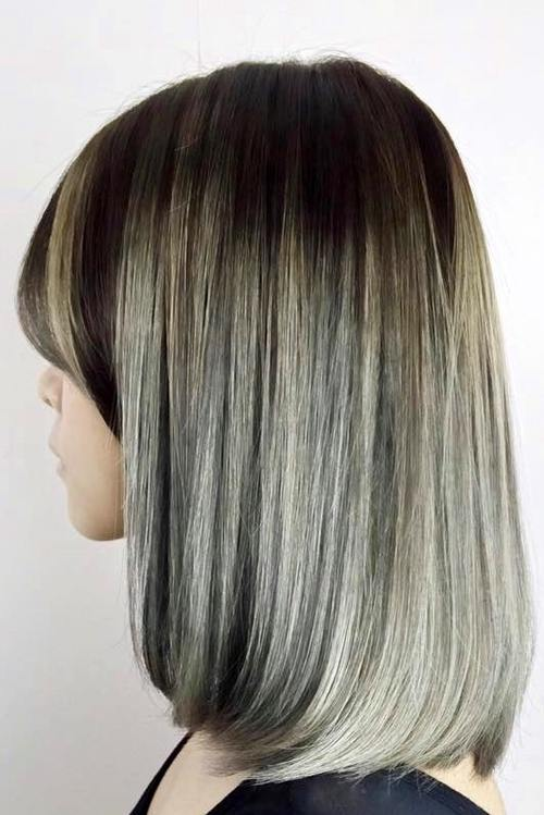 brown to gray ombre bob