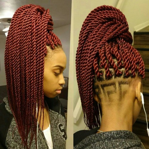 Senegalese Twists With Nape Undercut