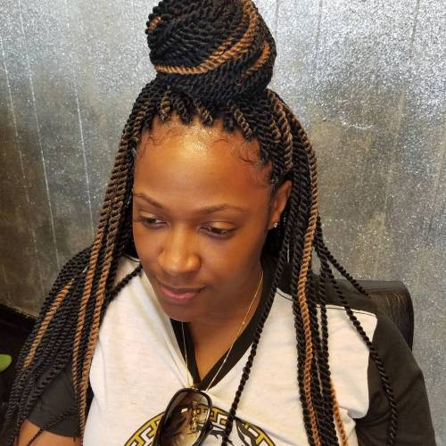 Half Up Bun For Senegalese Twists