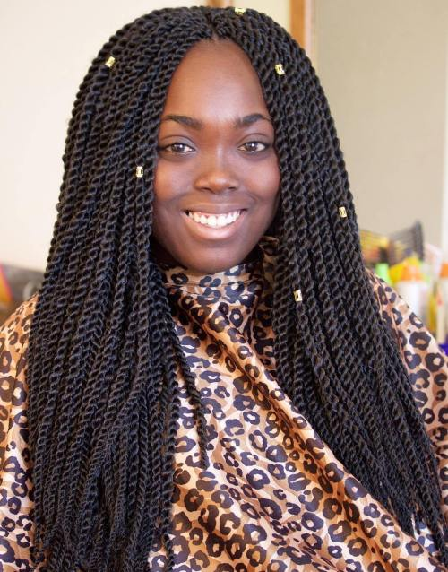 Side-Parted Long Senegalese Twists