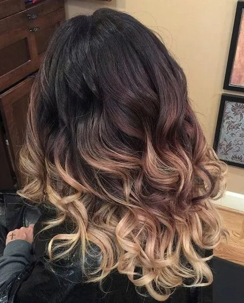 hair dye styles for dark hair 40 ideas for black ombre hair 8878 | 10 black to blonde curly ombre hair