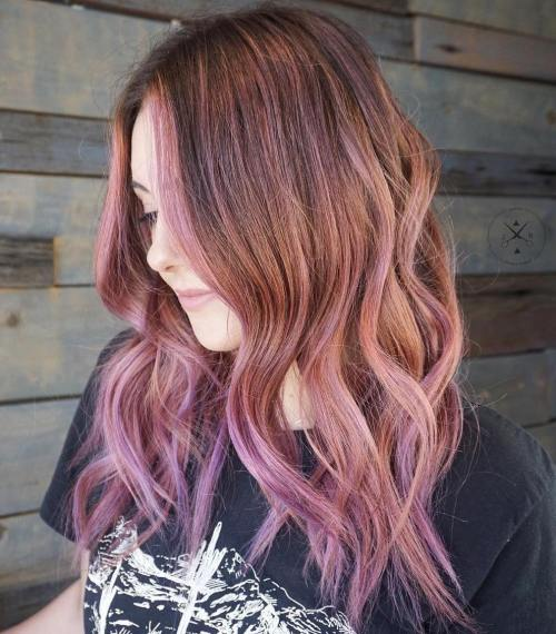 brown hair with subtle pink highlights